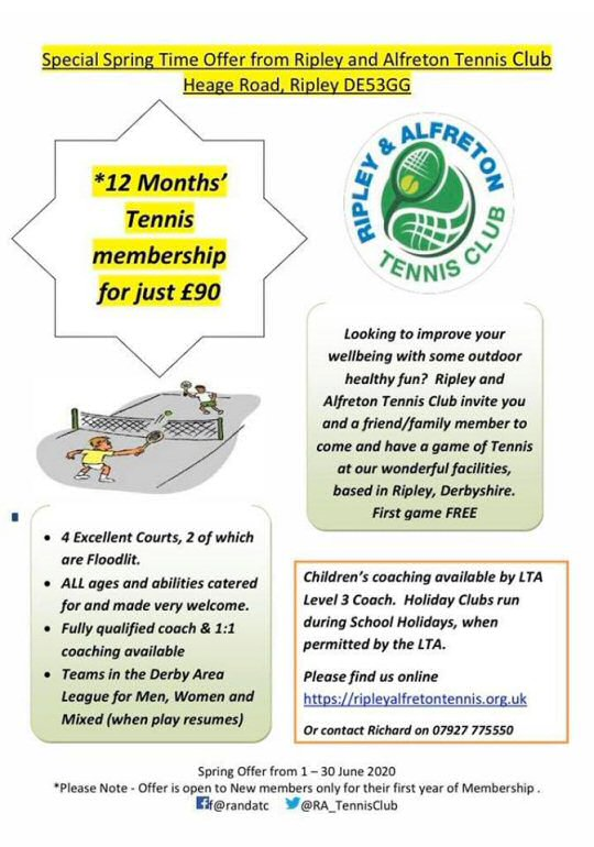 Ripley and Alfreton Tennis Club - New Member Offer