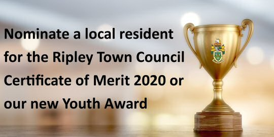 Nominations Are Open For The Ripley Town Council Certificate of Merit Award or Youth Award.