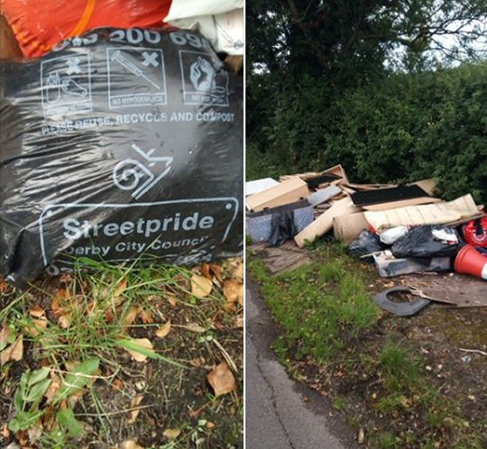 Flytipping At Smalley Mill Road, Horsley