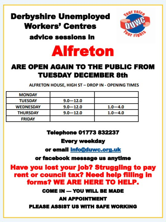 Derbyshire Unemployed Workers' Centres Advice Sessions