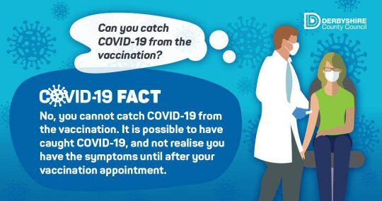 You can't catch Covid-19 from the vaccination.